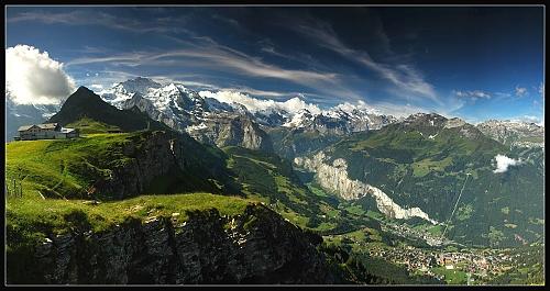 Výhled z Manlichenu na Jungfrau